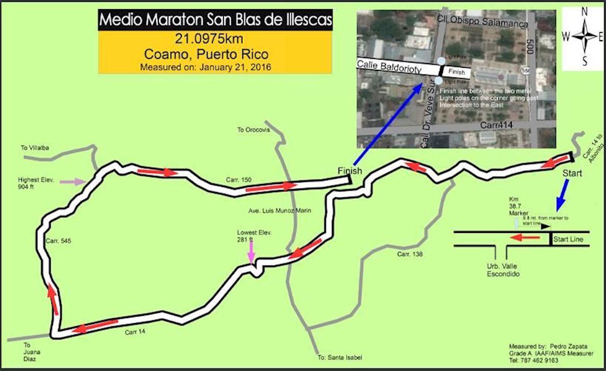 Maratón San Blas 路线图