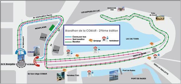Marathon Comar de Tunis - Carthage ITINERAIRE