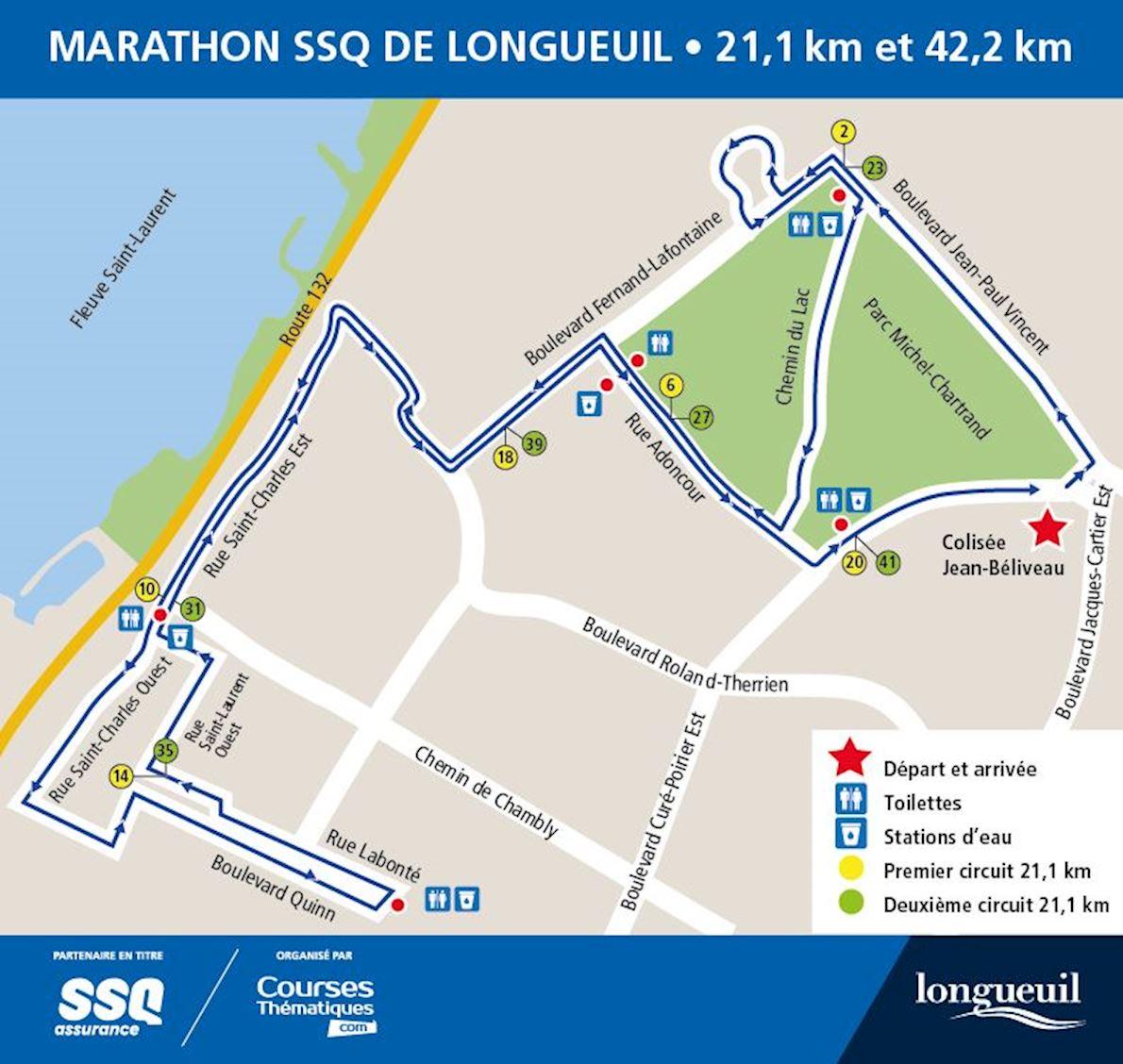 Marathon SSQ de Longueuil Routenkarte