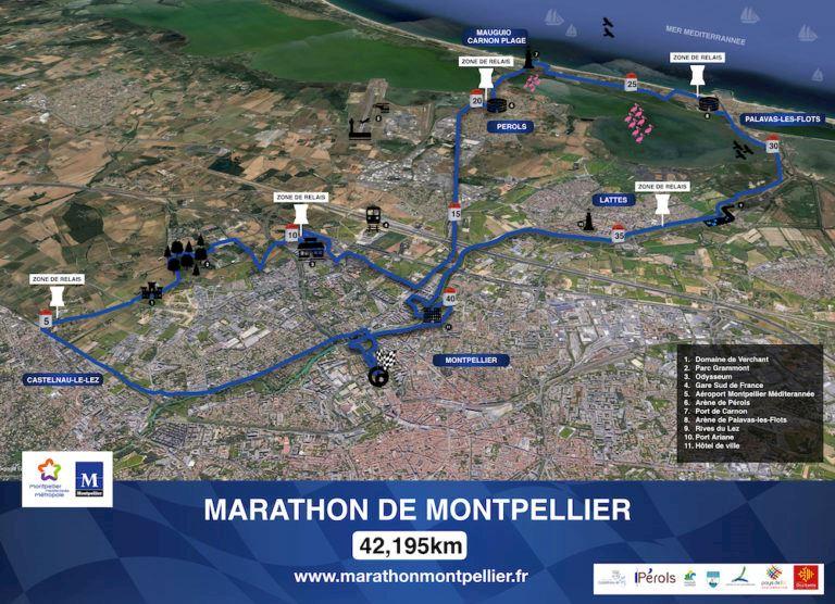 Marathon de Montpellier Routenkarte
