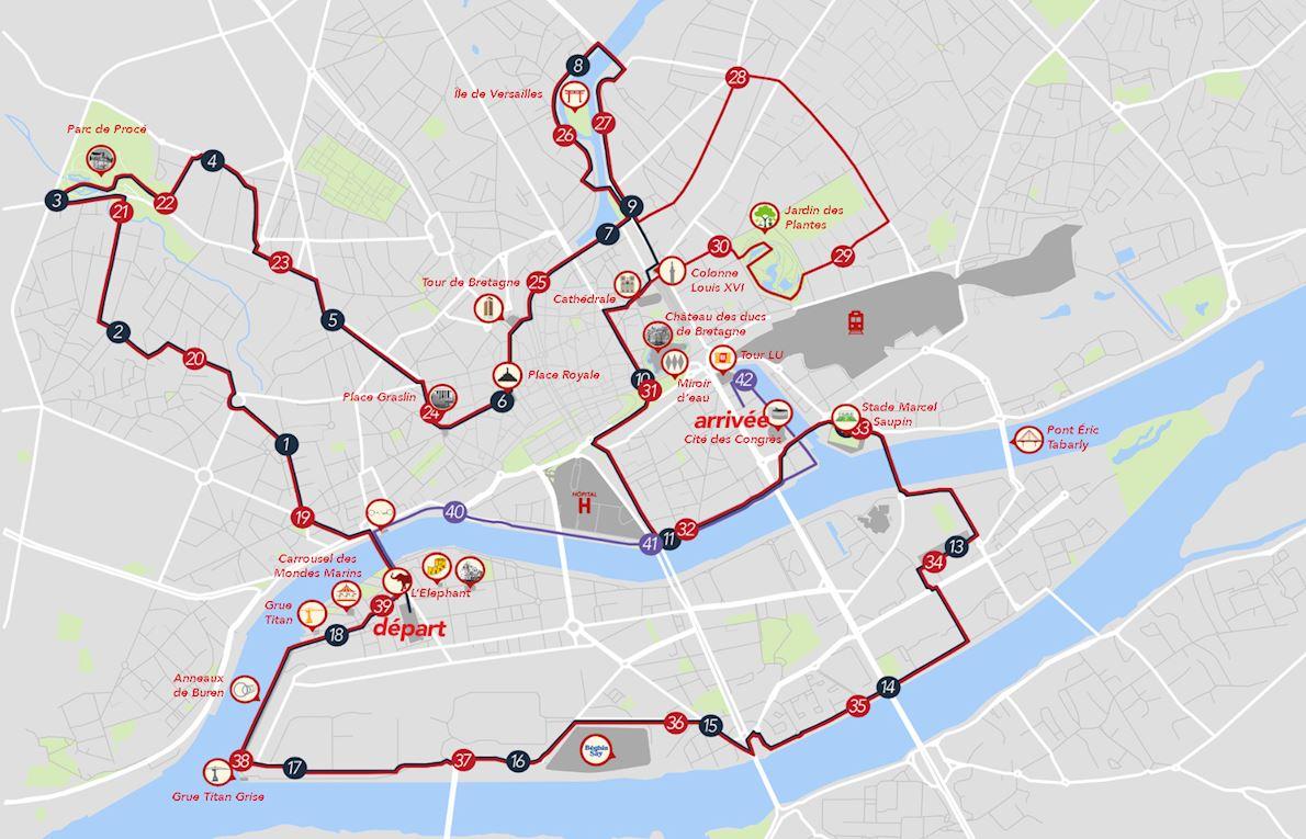 Abalone Marathon de Nantes Routenkarte