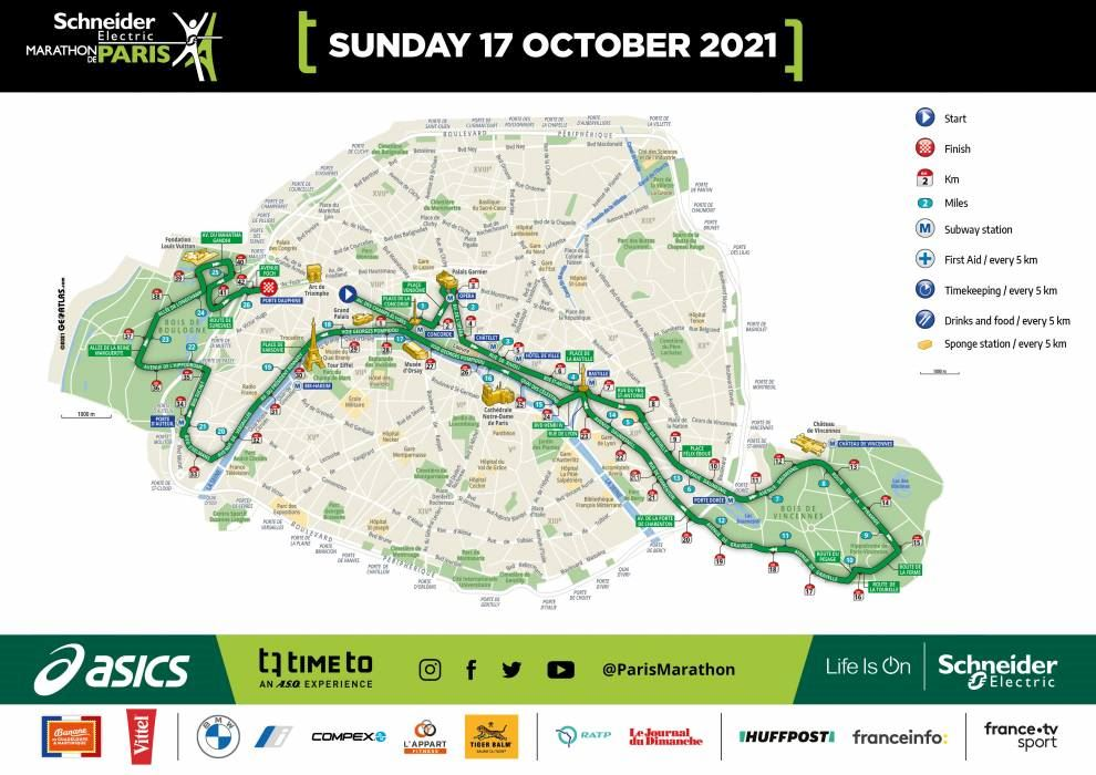 Schneider Electric Marathon de Paris 路线图