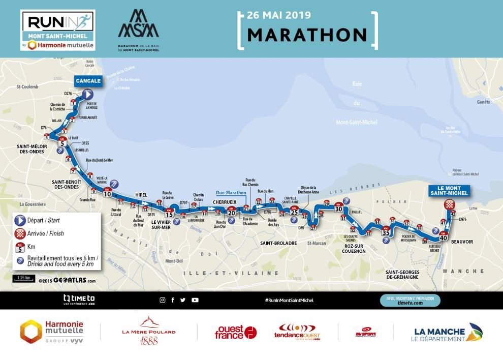 Run in Mont Saint-Michel Route Map