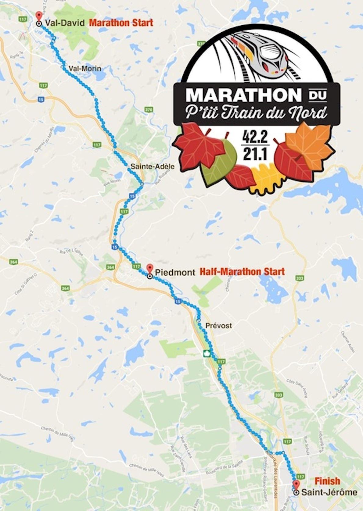 Marathon du Petit Train du Nord Route Map