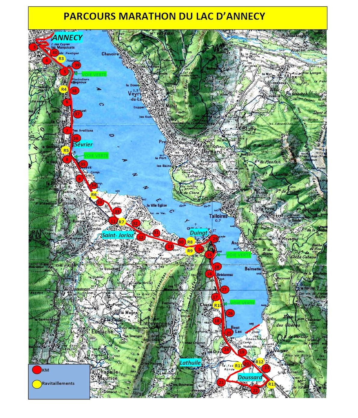 Marathon du Lac d'Annecy Route Map
