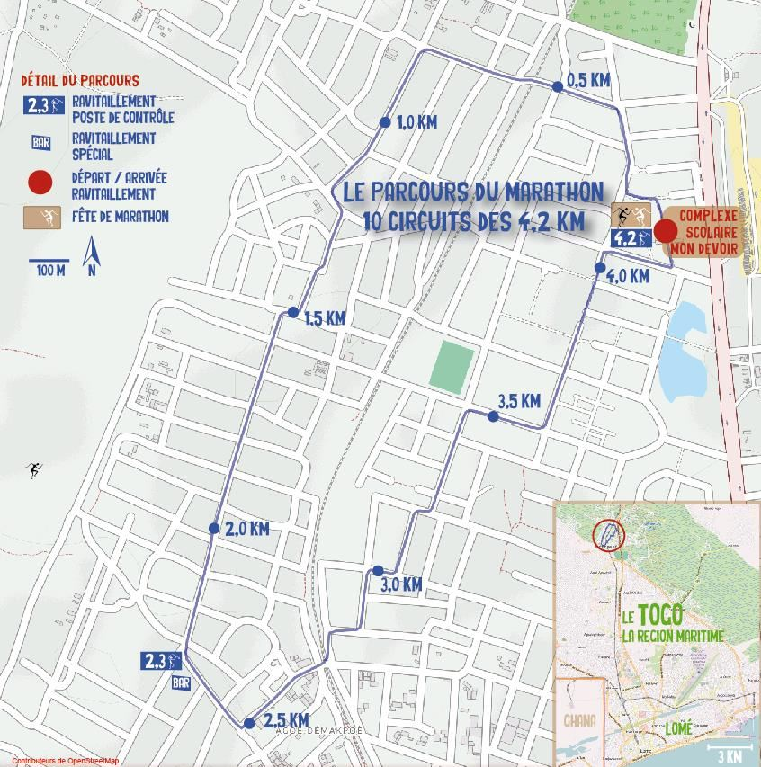 Marathon International du Togo, Lomé, Togo 路线图
