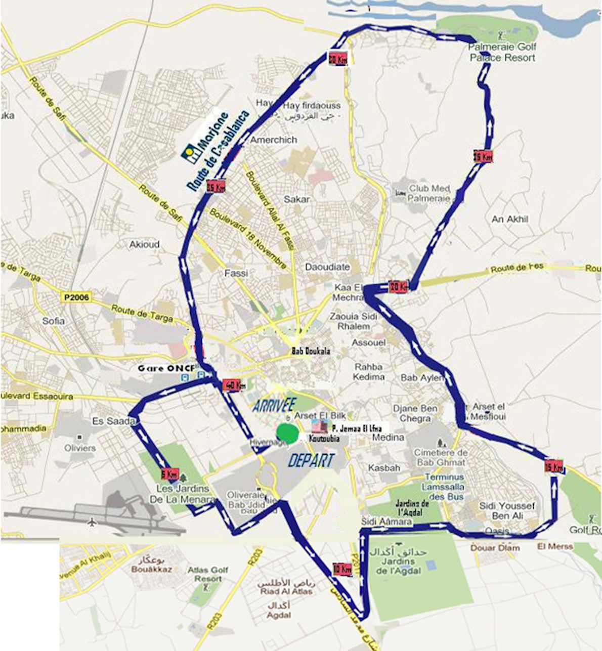 International Marathon of Marrakech Route Map