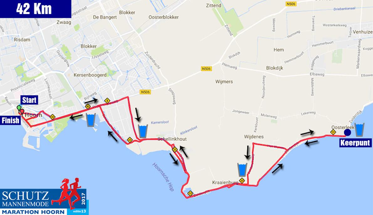 Schutz Marathon Hoorn Mappa del percorso