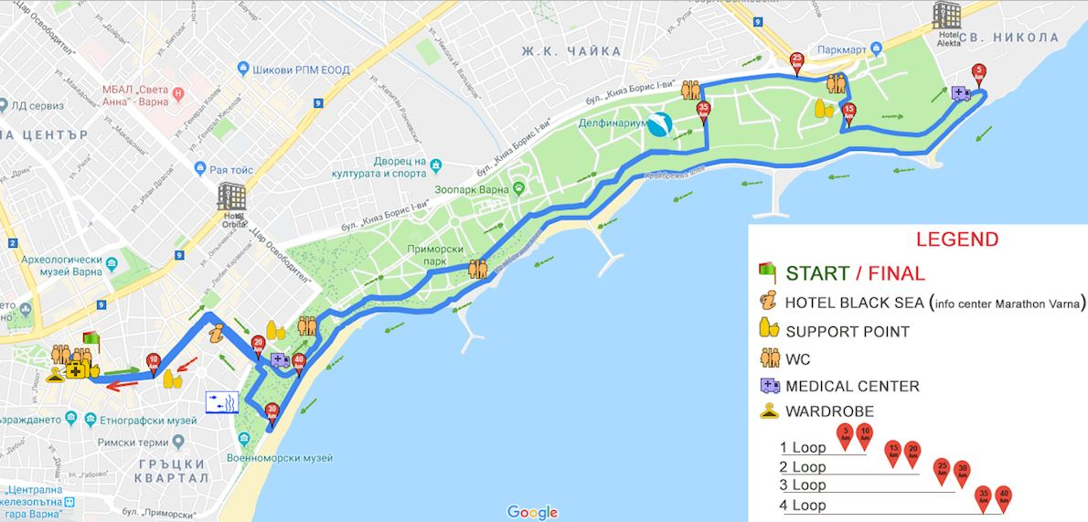 Marathon Varna Mappa del percorso
