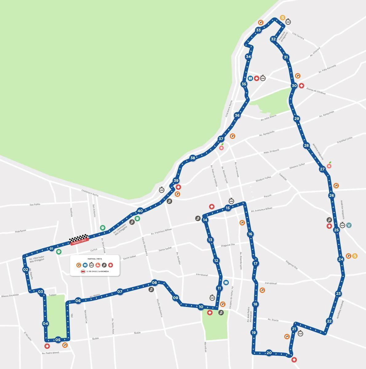 Maraton de santiago Route Map