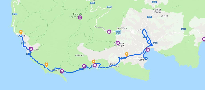 Elba Island Marathon Route Map