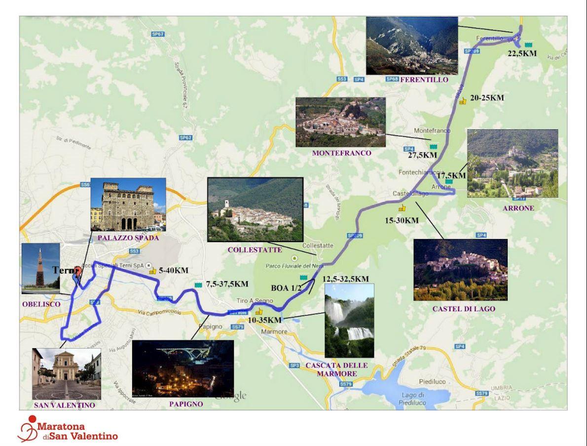 Maratona di San Valentino Mappa del percorso