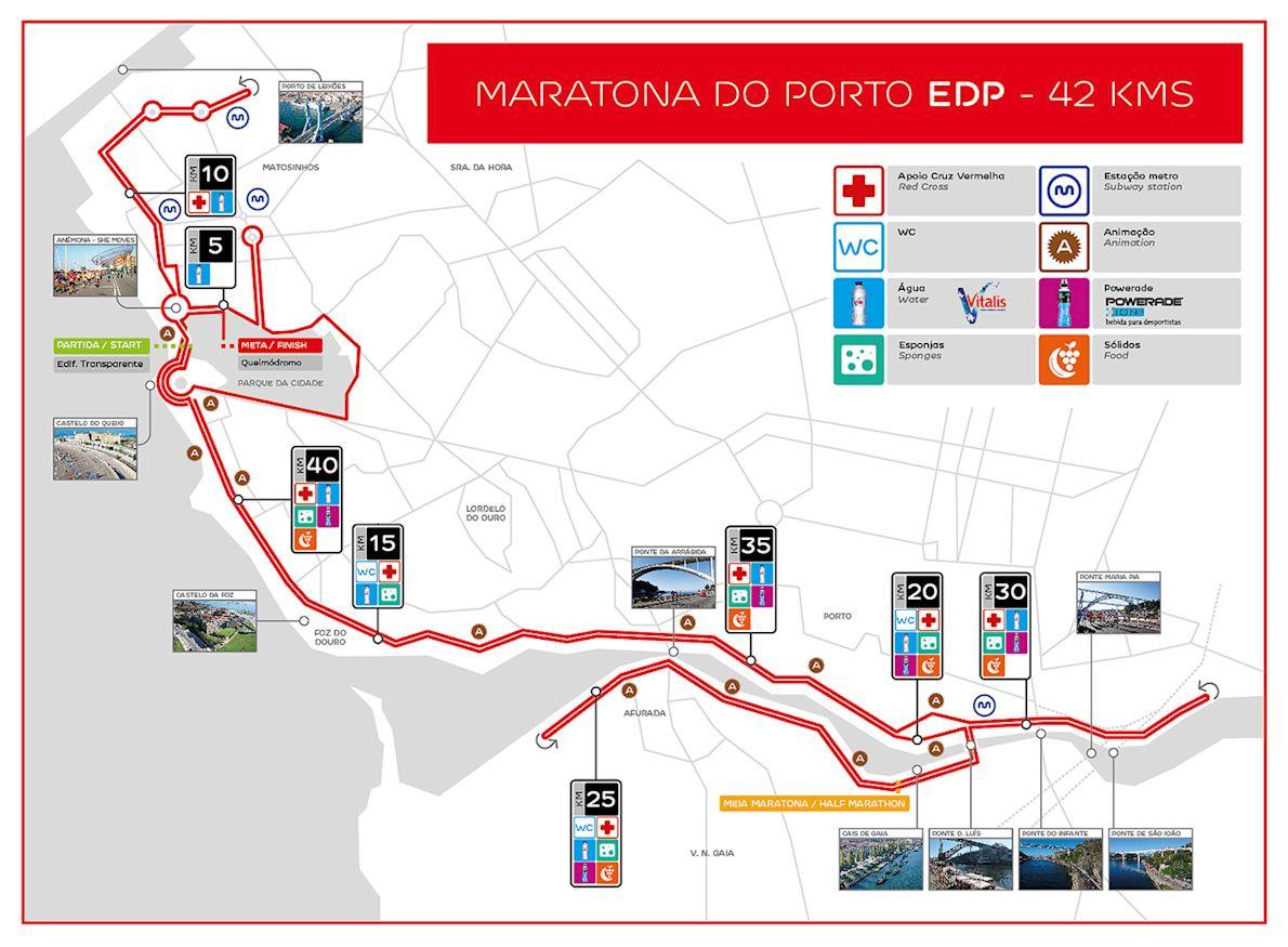 EDP Porto Marathon Route Map