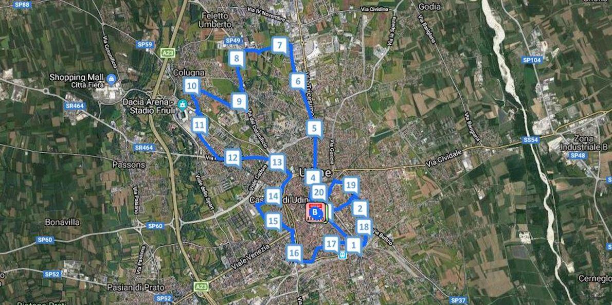 Maratonina di Udine Routenkarte