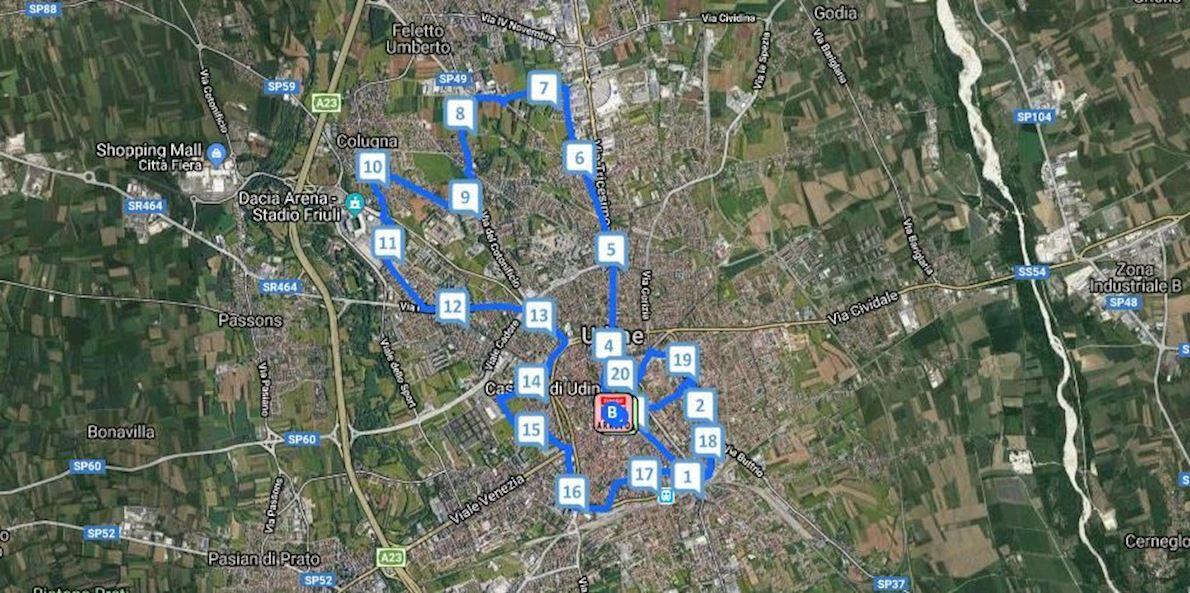 Maratonina Città di Udine Routenkarte