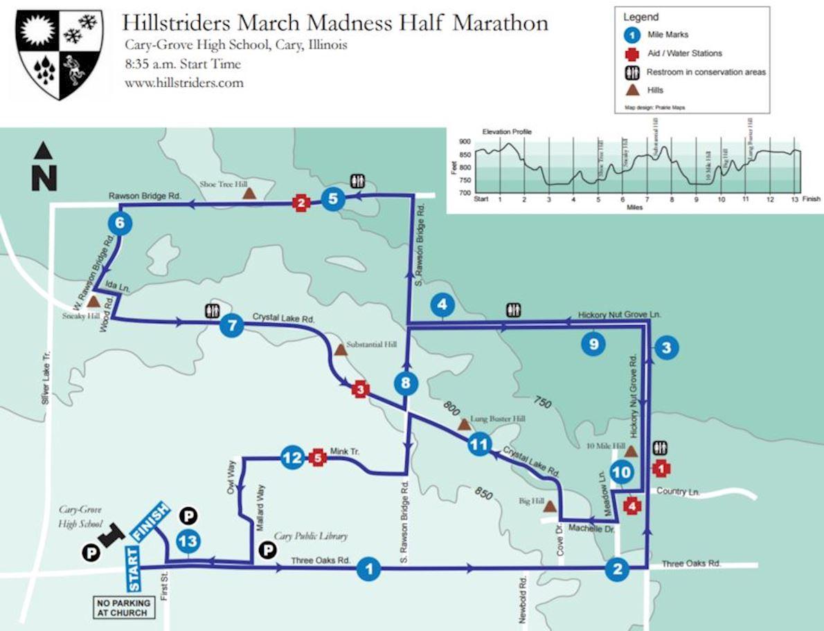 March Madness Half Marathon Routenkarte