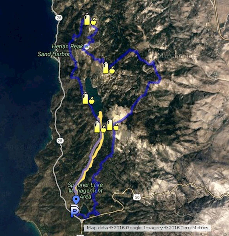 Marlette Lake Tahoe 50K Trail Run Routenkarte
