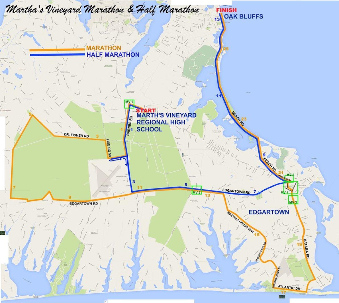 Martha's Vineyard Marathon & Half Marathon Route Map