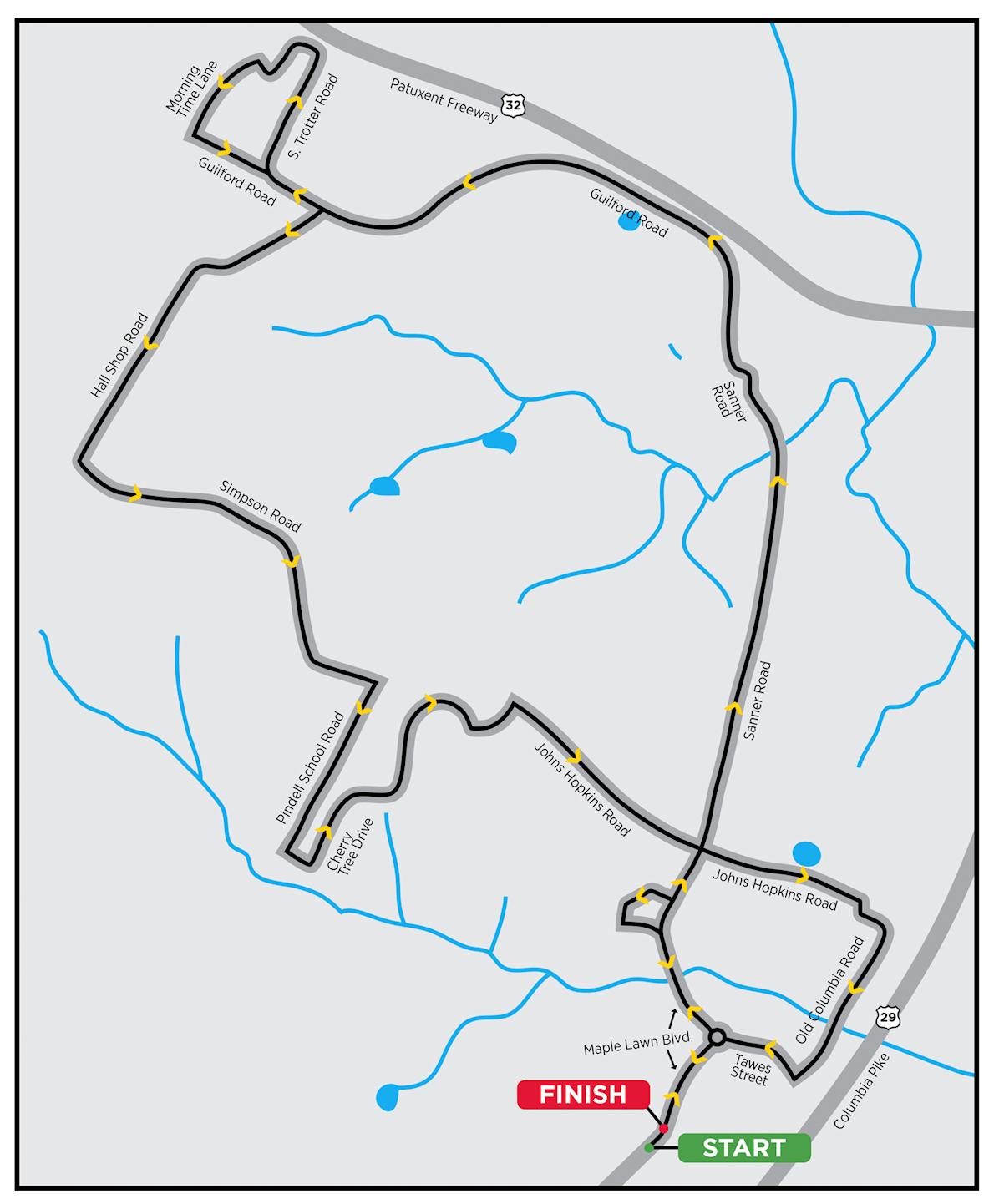 Maryland Half Marathon & 5K Routenkarte