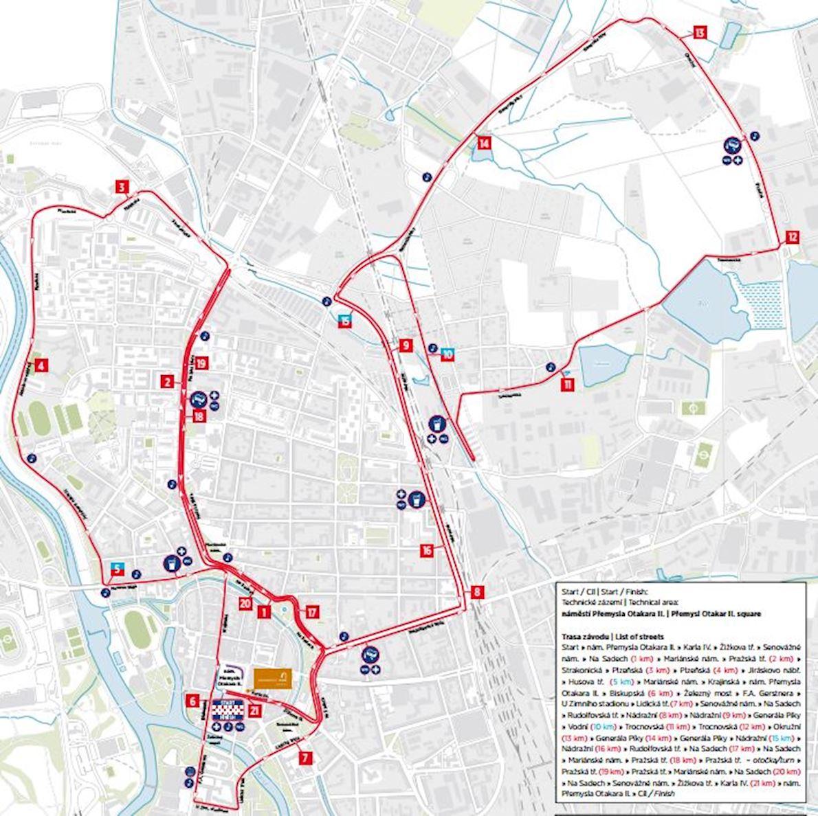 Mattoni Česke Budějovice Half Marathon 路线图
