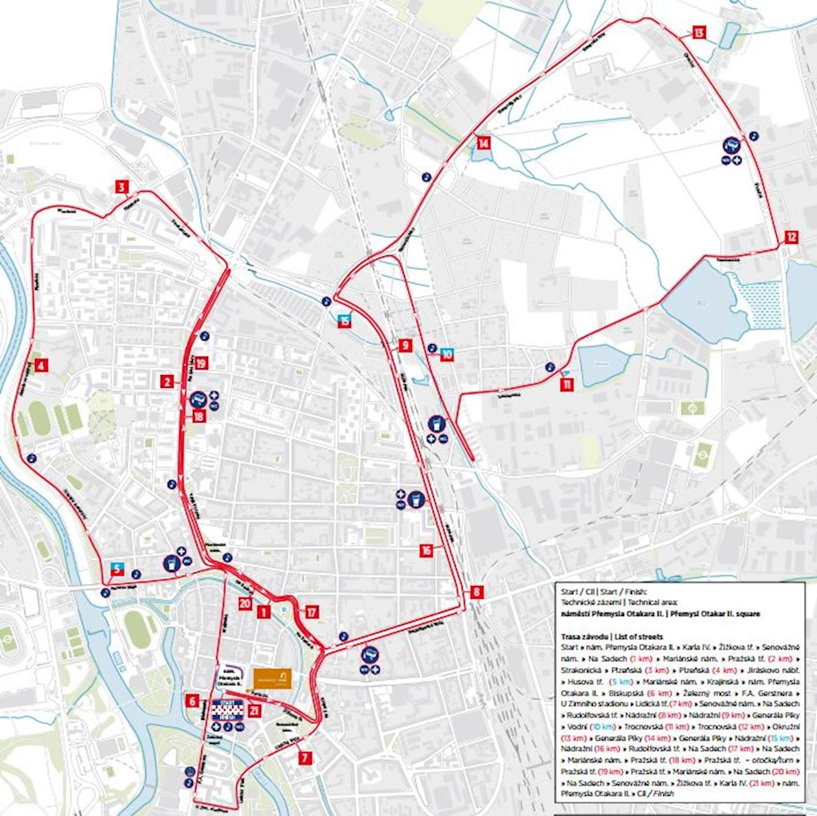Mattoni Česke Budějovice Half Marathon Mappa del percorso