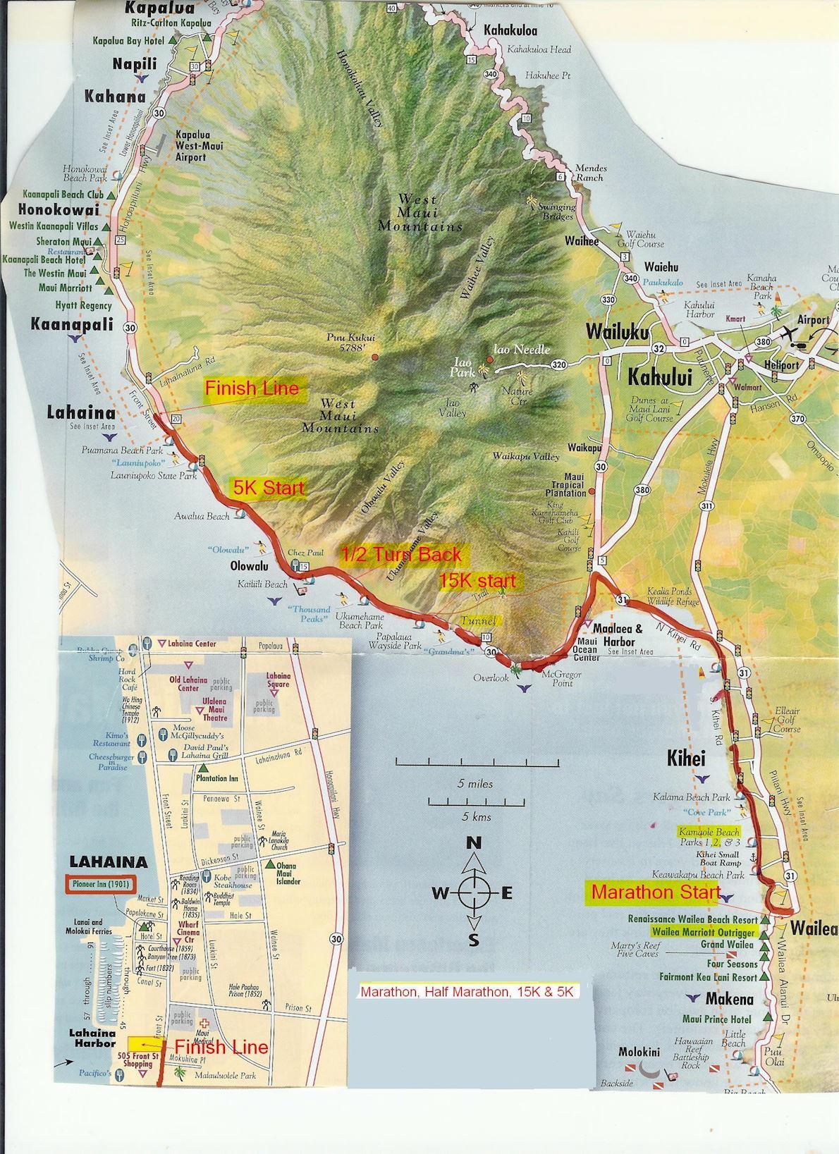 Maui Oceanfront Marathon MAPA DEL RECORRIDO DE