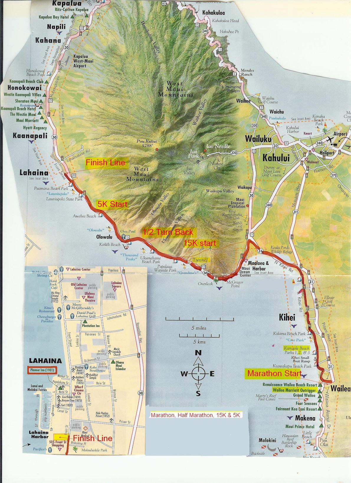 Maui Oceanfront Marathon Route Map