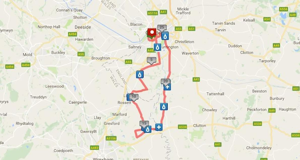 MBNA Chester Marathon Route Map
