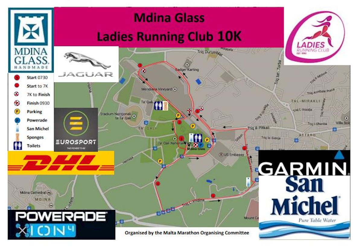 Mdina Glass LRC 10k (Malta) Route Map