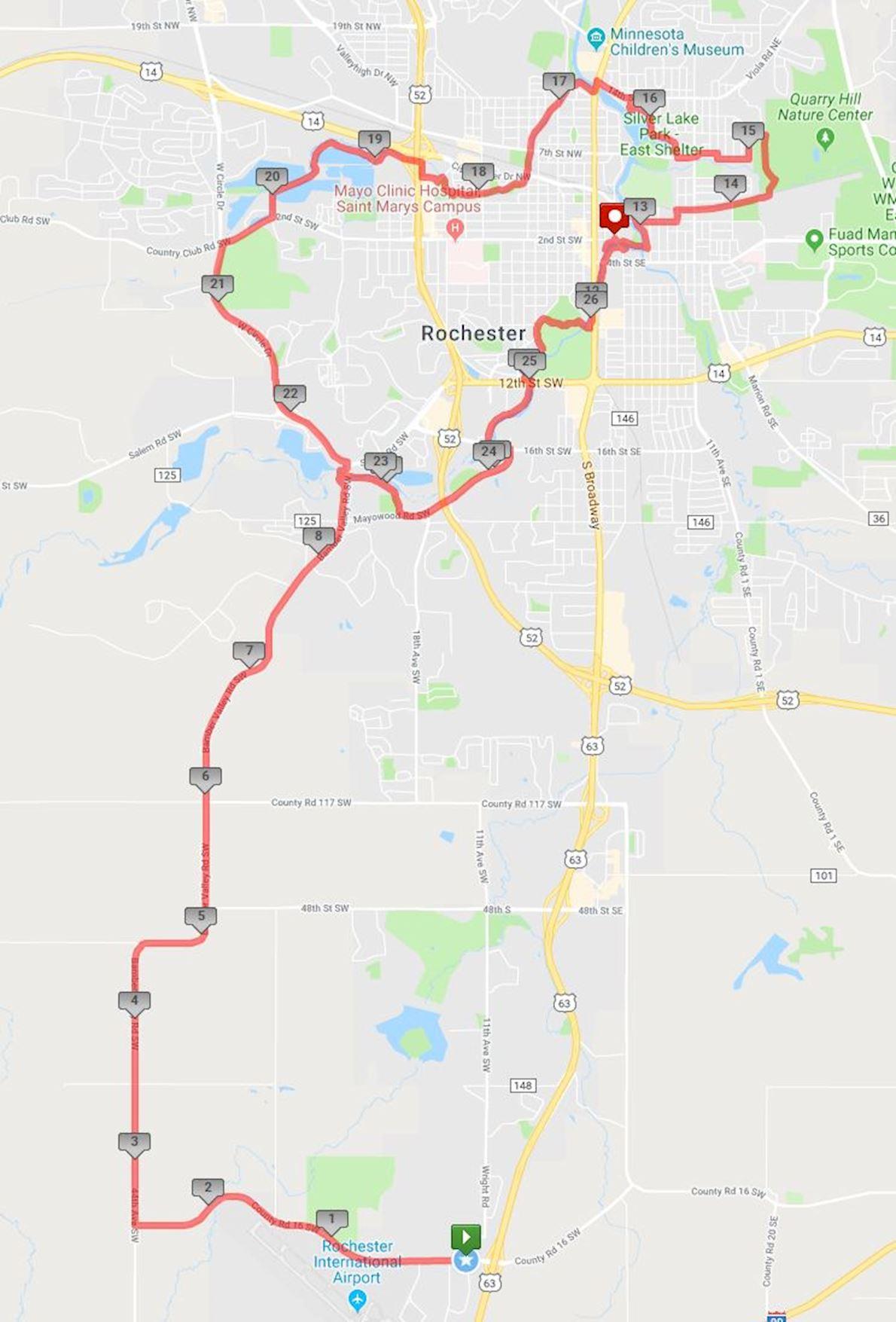 Med City Marathon Routenkarte
