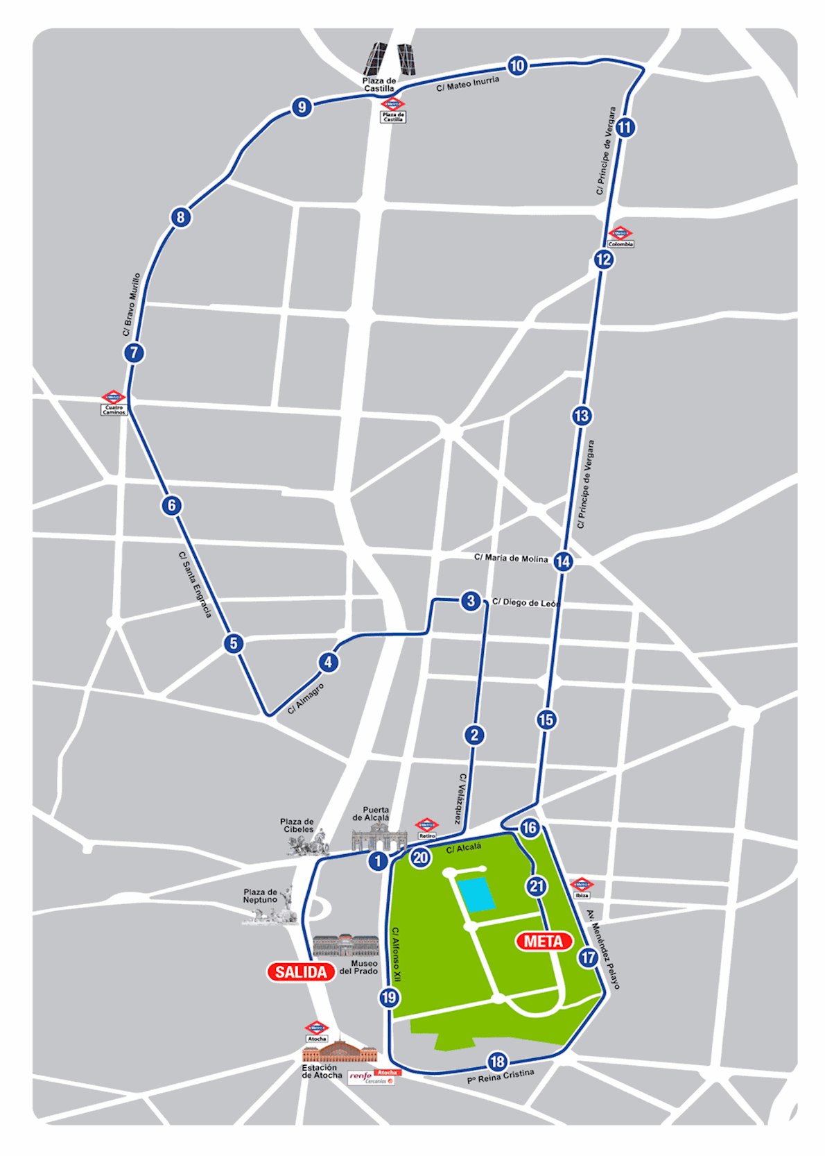 Movistar Medio Maratón de Madrid Mappa del percorso