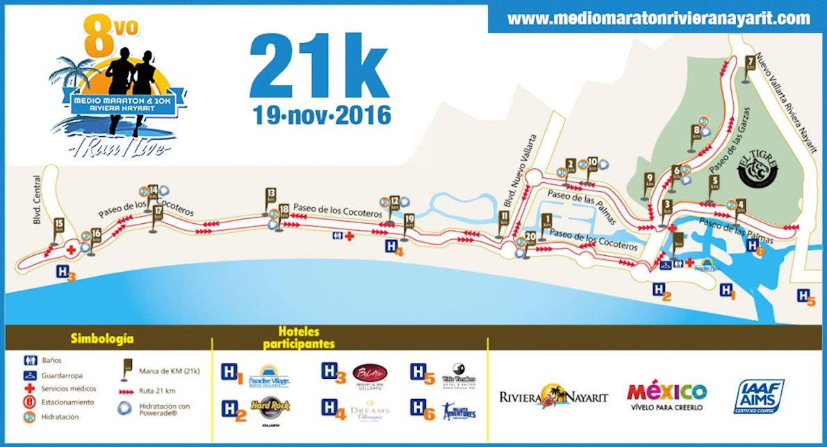Half Marathon Riviera Nayarit MAPA DEL RECORRIDO DE