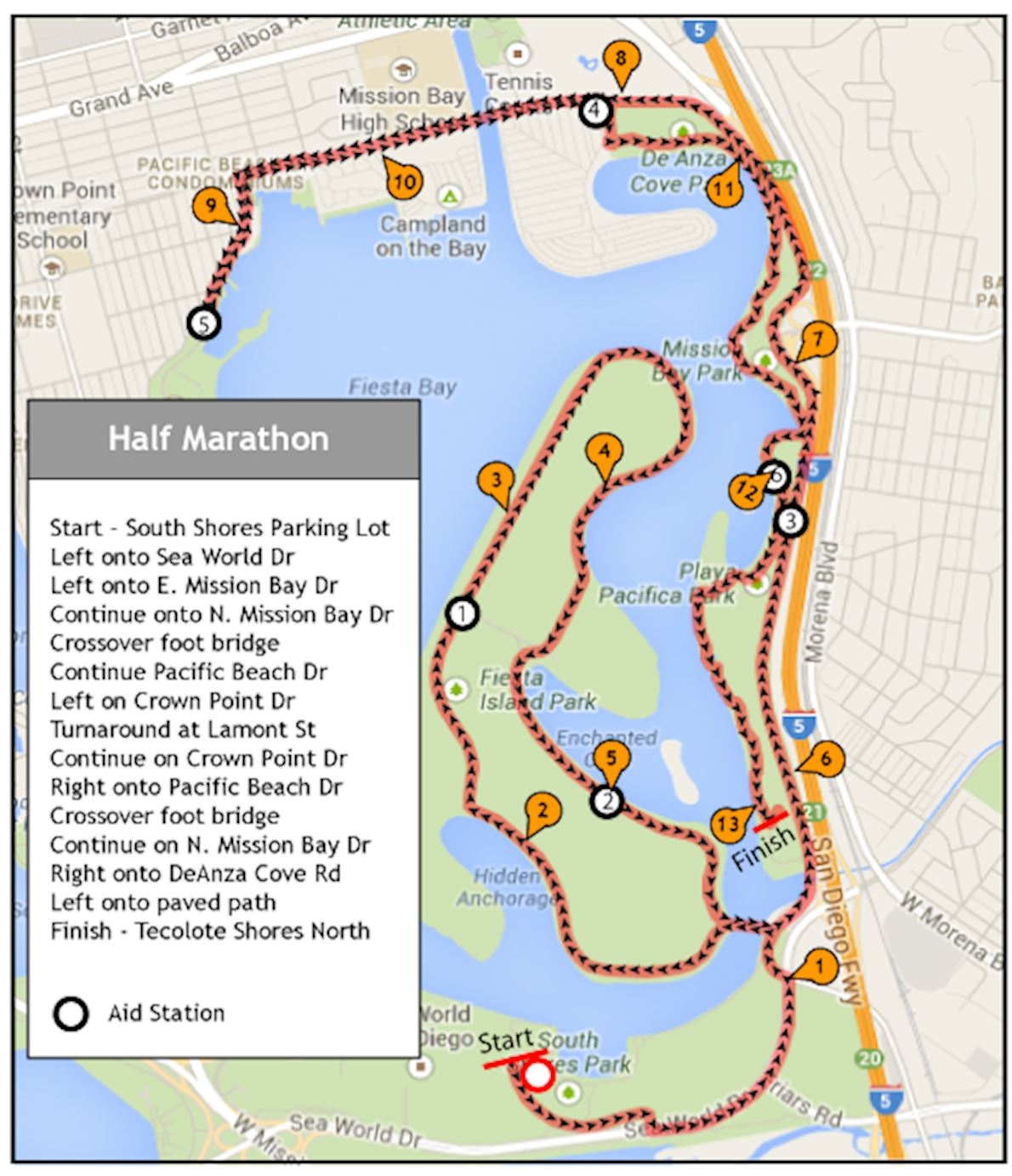 Mermaid Half Marathon San Diego Route Map