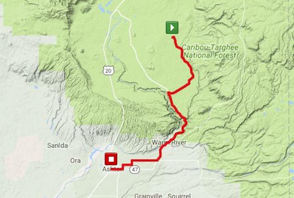 Mesa Falls Marathon Mappa del percorso