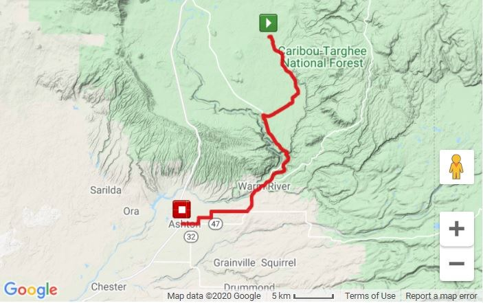 Mesa Falls Marathon Route Map