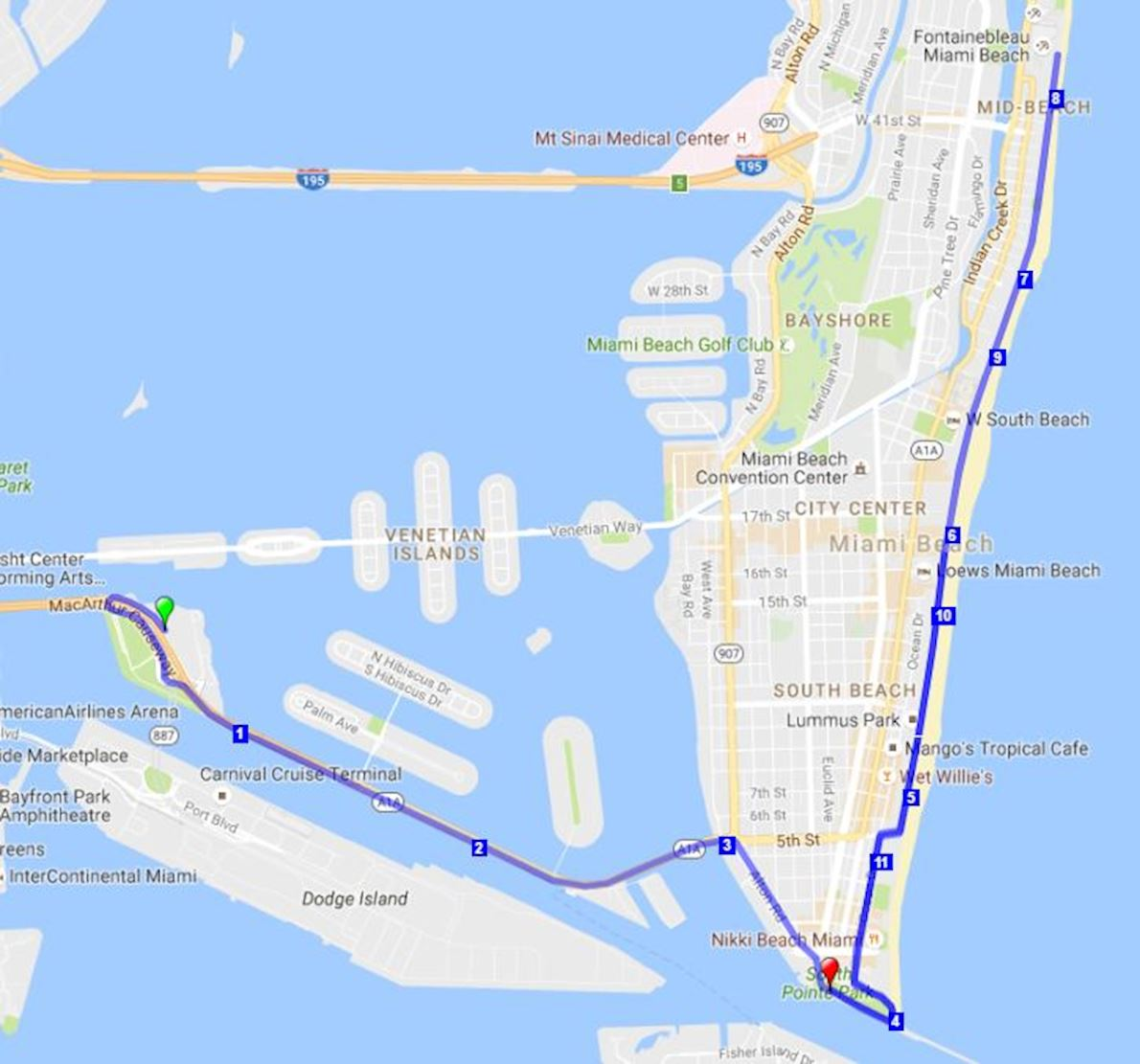 Miami Beach Halloween Half Marathon Route Map