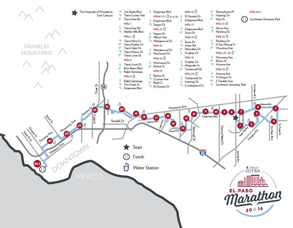 Michelob Ultra El Paso Marathon Route Map