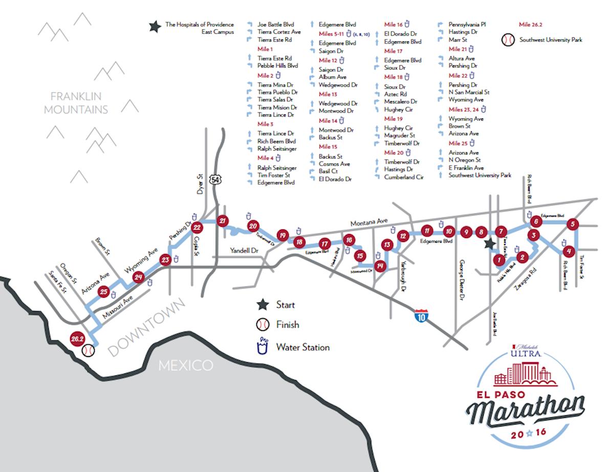El Paso Marathon & Half Marathon Routenkarte