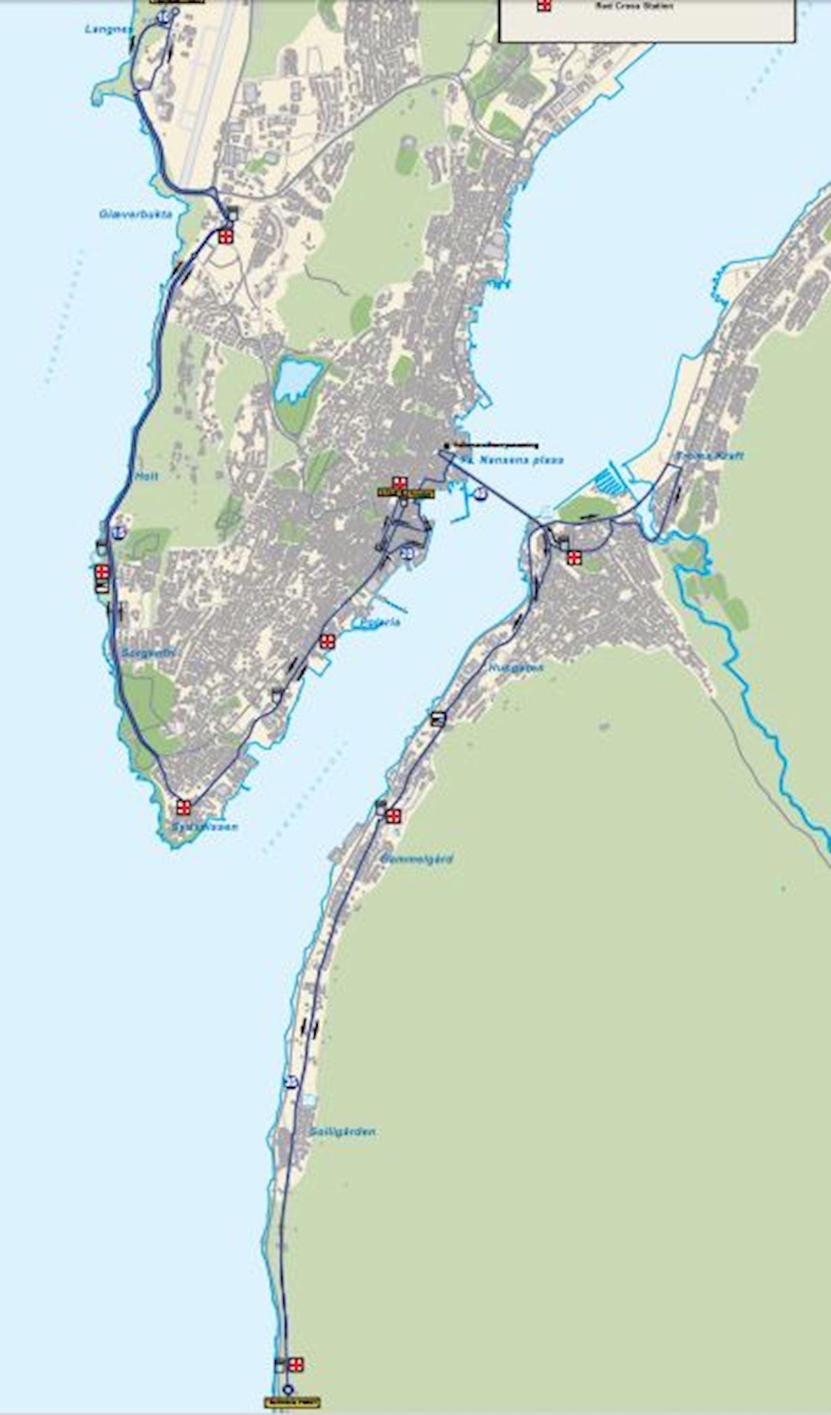 Midnight Sun Marathon 路线图