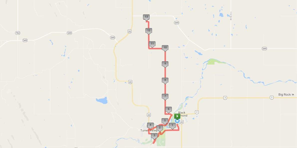 """Millarville """"Run To The Farmers' Market"""" Half Marathon Routenkarte"""