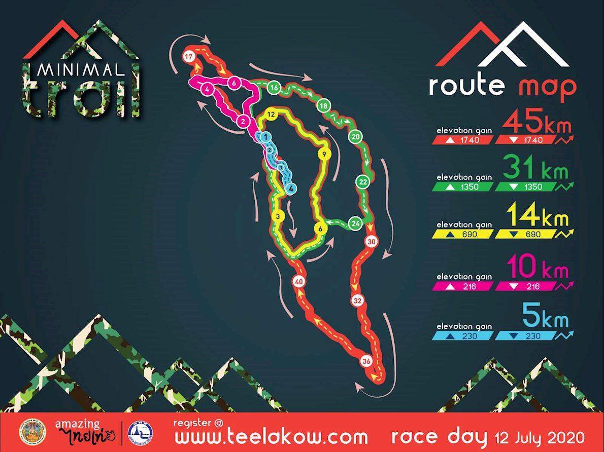 Minimal Maewa Trail Routenkarte