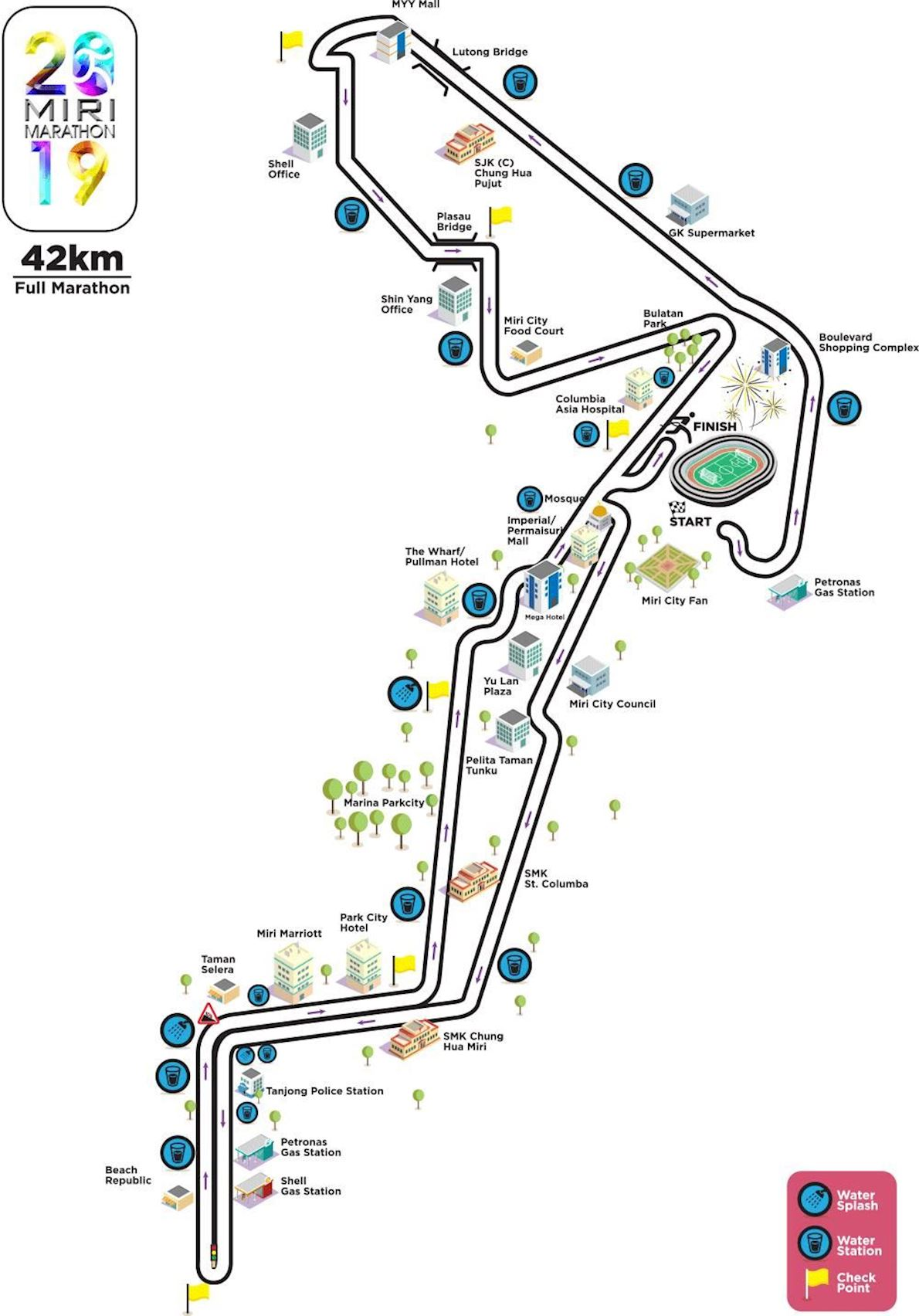 Miri Marathon Route Map