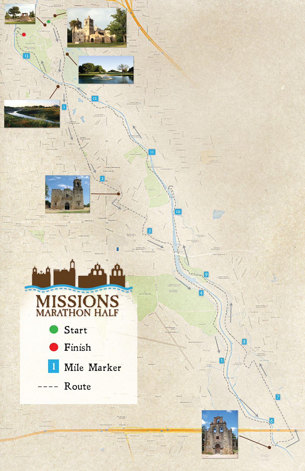 Missions Heritage Half MAPA DEL RECORRIDO DE