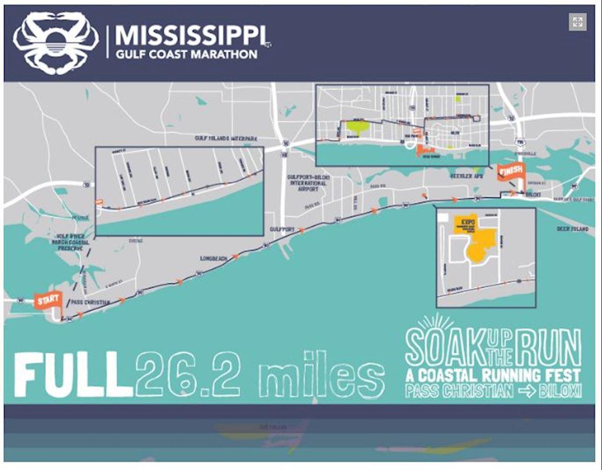 Mississippi Gulf Coast Marathon 路线图