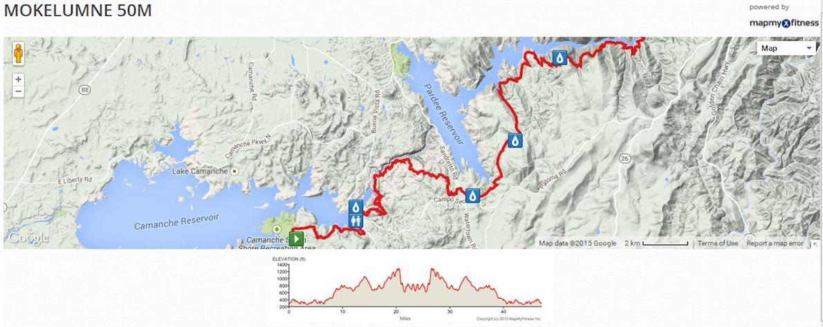 Mokelumne River Trail Running Festival Routenkarte