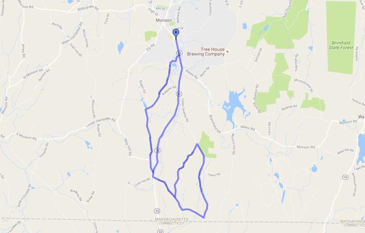 Monson Memorial Classic Races Route Map