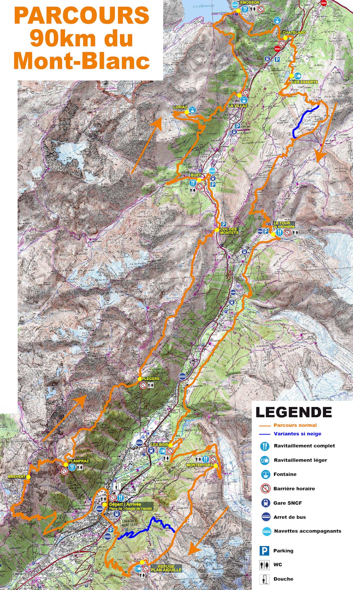 Marathon du Mont Blanc 路线图