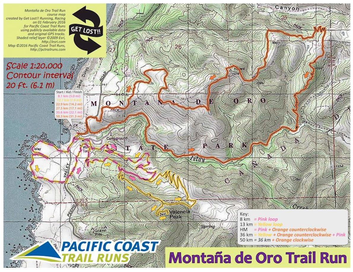 Montaña de Oro Half Marathon Routenkarte