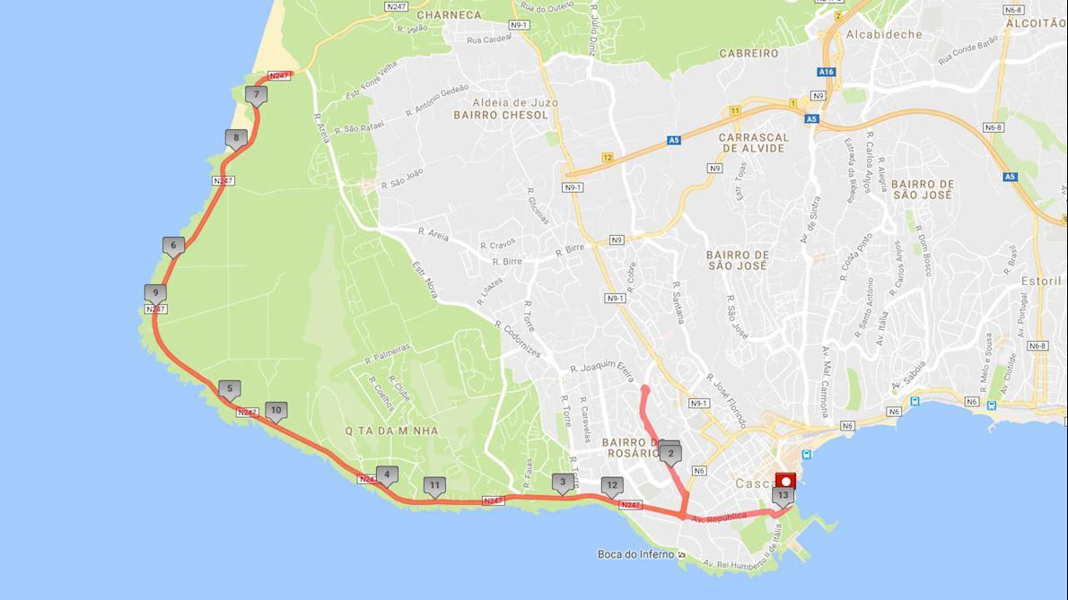 Montepio Cascais Half Marathon  Route Map