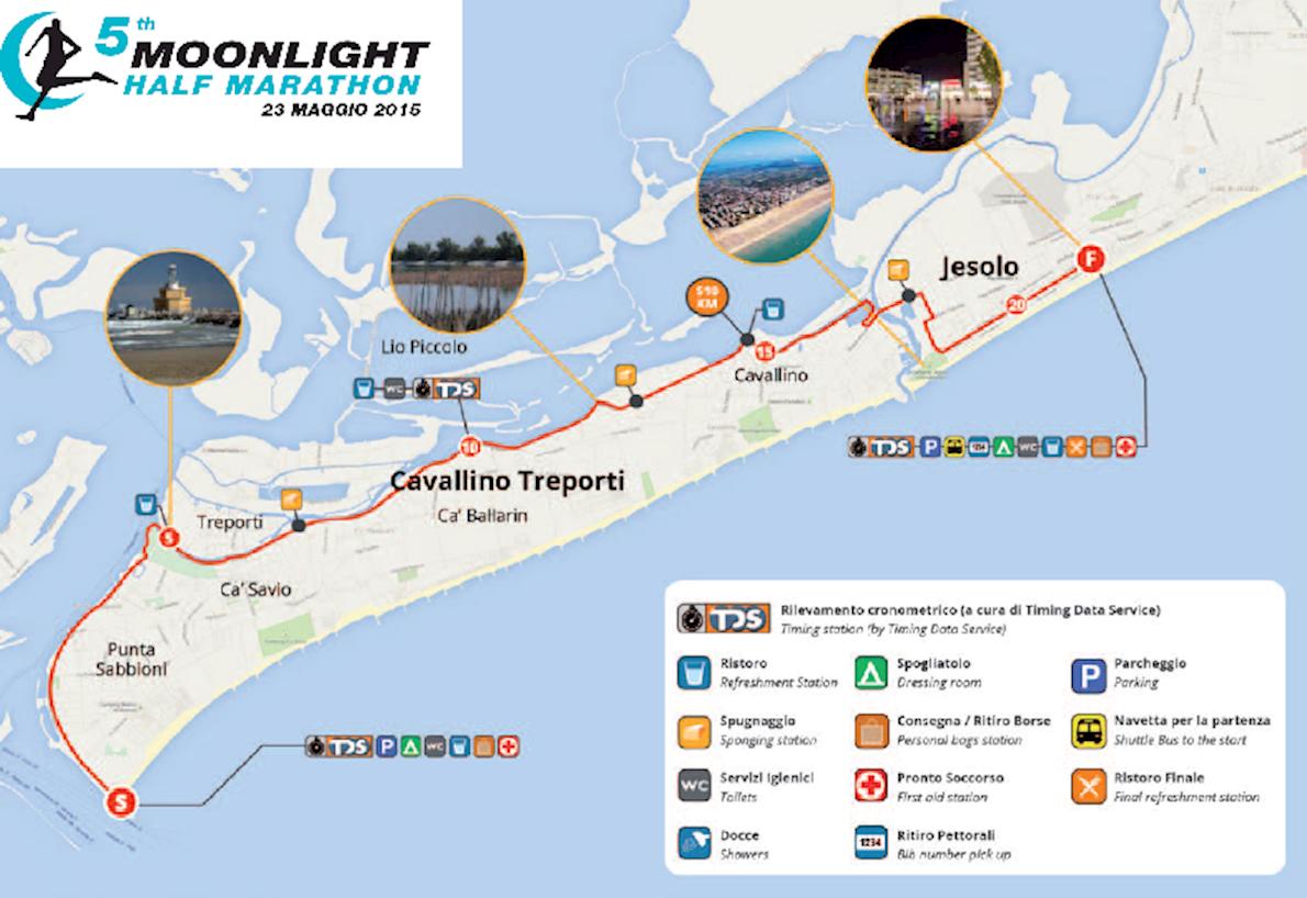 Jesolo Moonlight Half Marathon Routenkarte